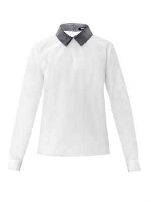 Contrast collar cotton shirt