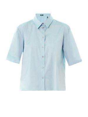 Point-collar poplin shirt