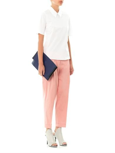 Jil Sander Navy Techno stretch poplin tailored trousers