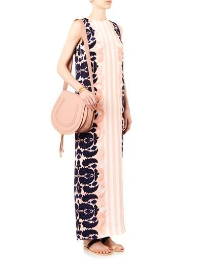 Mother Of Pearl Aspen stripe and lace-print silk dress