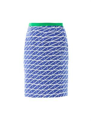 Vida geometric print silk skirt