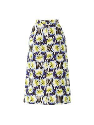 Calle petal stripe-print midi skirt