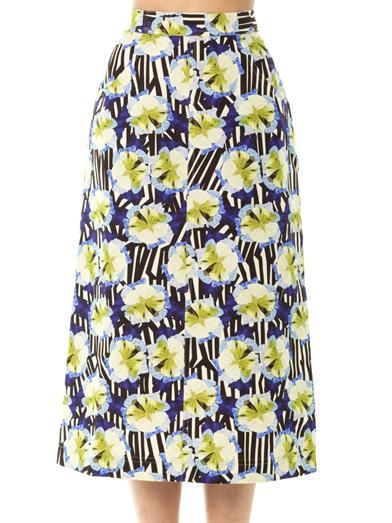 Mother Of Pearl Calle petal stripe-print midi skirt