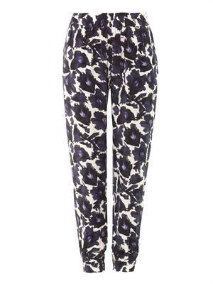 Rhea floral print silk trousers