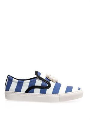 Striped canvas slip-on trainers