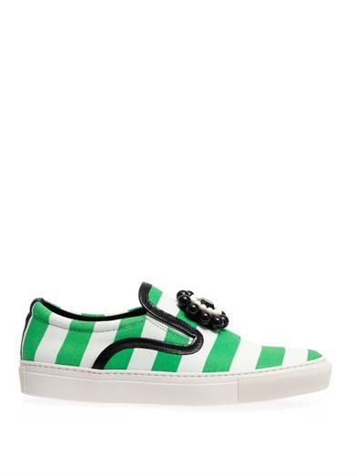 Mother Of Pearl Striped canvas slip-on trainers