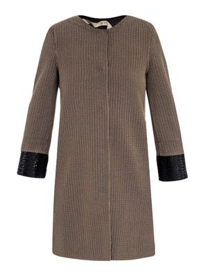 Dogtooth detachable-cuff coat