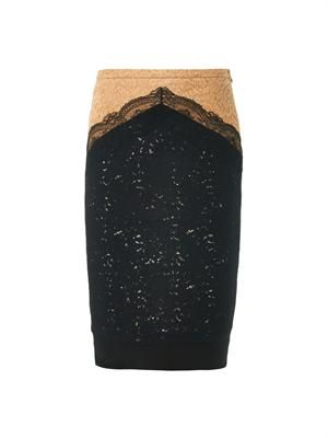 Bi-colour lace pencil skirt