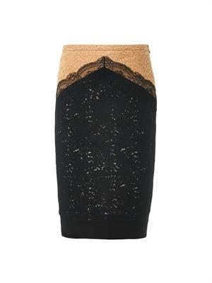 Bi-colour lace pencil skirt