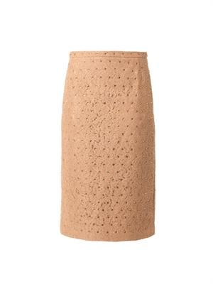 Crystal-embellished lace skirt