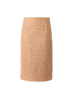 Crystal-embellished lace skirt