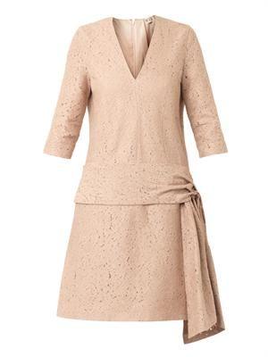 Sash-waist lace dress