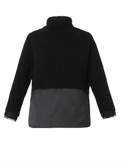 No. 21 Satin, lace and ribbed-knit sweater