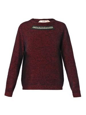 Embellished-neck angora-blend sweater