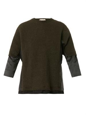 Multi-panel ribbed-knit sweater