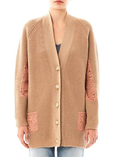 No. 21 Lace insert wool cardigan