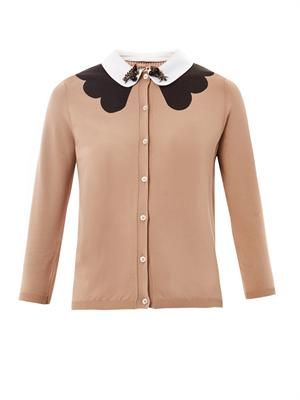 Embellished-collar cardigan