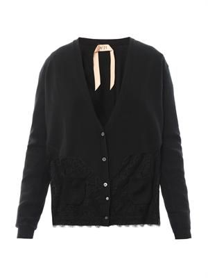 Lace-trimmed wool cardigan