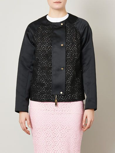 No. 21 Lace and satin bomber jacket