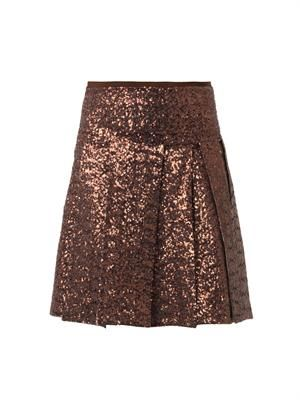 Sequined multi-slit skirt