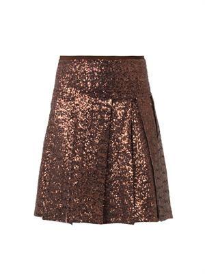 Sequined multi-slit skirt