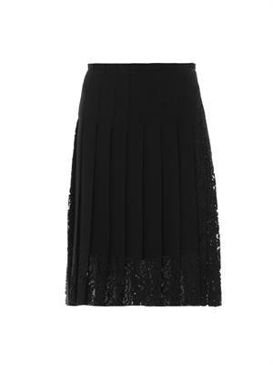 Lace-panel pleated skirt