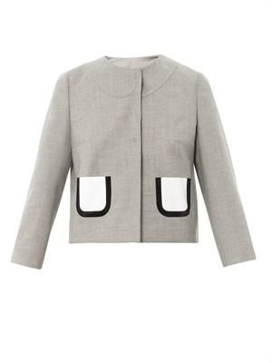 Wool-blend collarless jacket