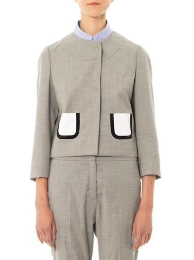 No. 21 Wool-blend collarless jacket