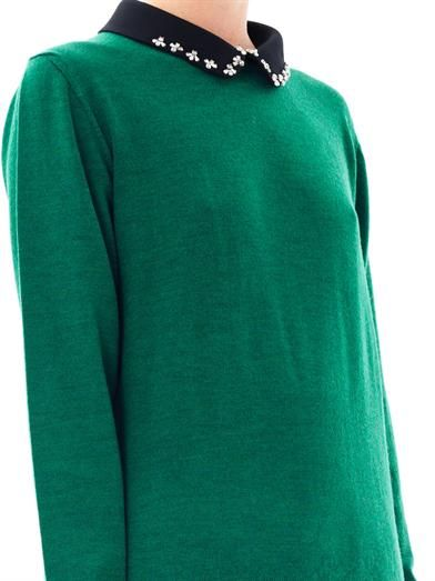 No. 21 Embellished collar wool sweater