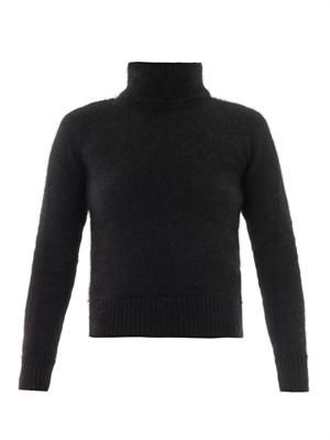 Open-back angora sweater