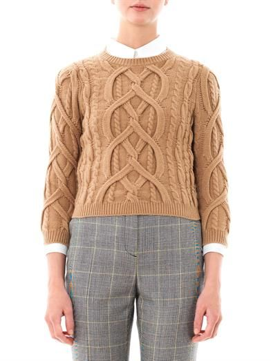 No. 21 Engineered-knit wool sweater