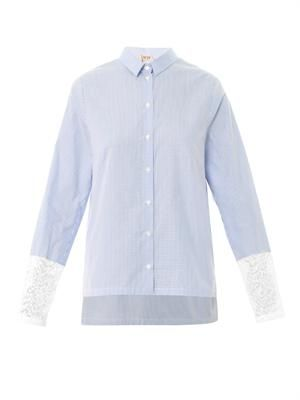 Lace-insert cotton shirt
