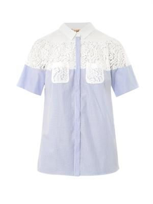 Cotton lace insert blouse