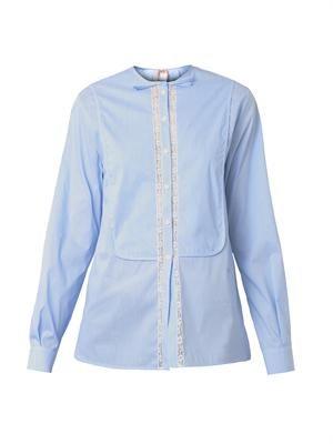 Pinstripe cotton and lace shirt