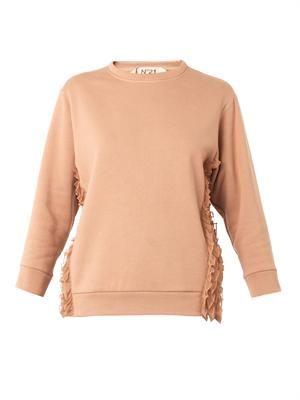 Organza-ruffle cotton-jersey sweatshirt