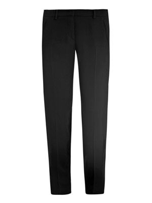 Lace-inset crepe trousers