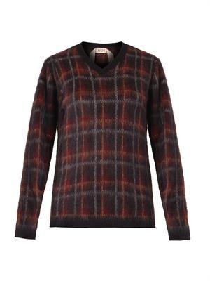 Tartan textured-knit sweater