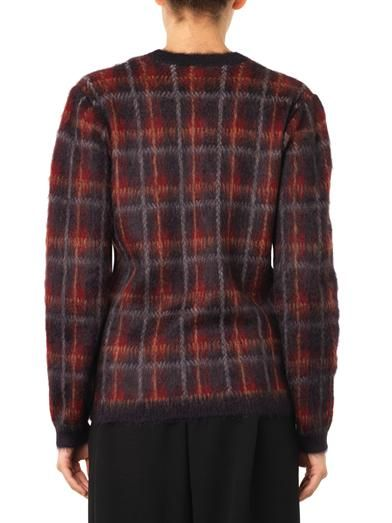 No. 21 Tartan textured-knit sweater