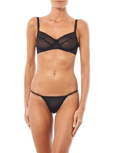 Deborah Marquit Sheer stretch-tulle demi-cup bra