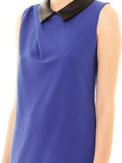 Thakoon Addition Leather-collar crepe dress