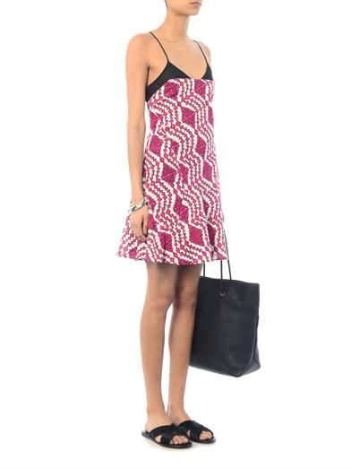 Thakoon Addition Printed broderie-anglaise cami dress