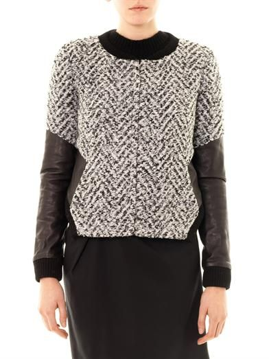Thakoon Addition Leather sleeve boucle jacket