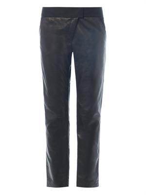 Asymmetric-zip leather trousers