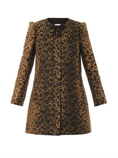 REDValentino Leopard-jacquard A-line coat