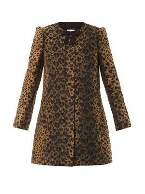 Leopard-jacquard A-line coat