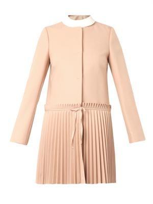 Pleated-skirt coat