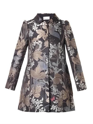 REDValentino Floral and owl-jacquard coat