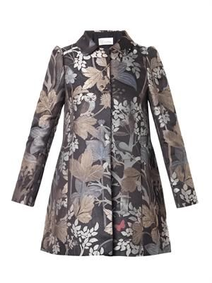 Floral and owl-jacquard coat