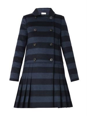 Striped wool-blend pleated coat
