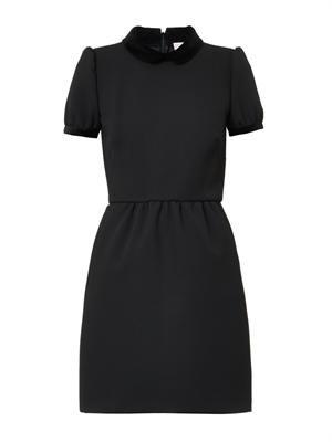 Velvet-collar crepe dress